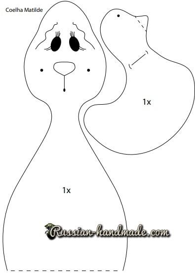 Ушастый кролик тильда с уточкой. Выкройка (1)
