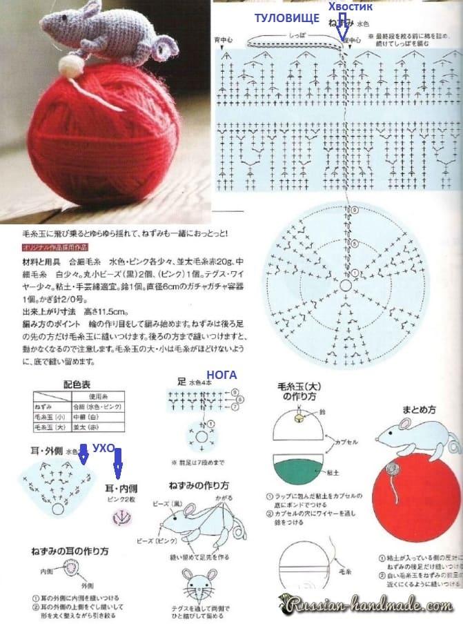 Крыса крючком. Схемы вязания амигуруми (1)