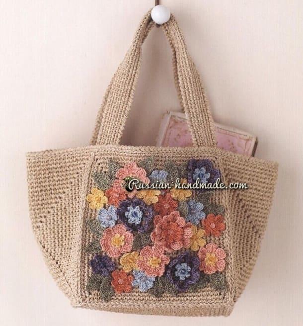 Вязаный комплект - летняя шляпка и сумочка (1)