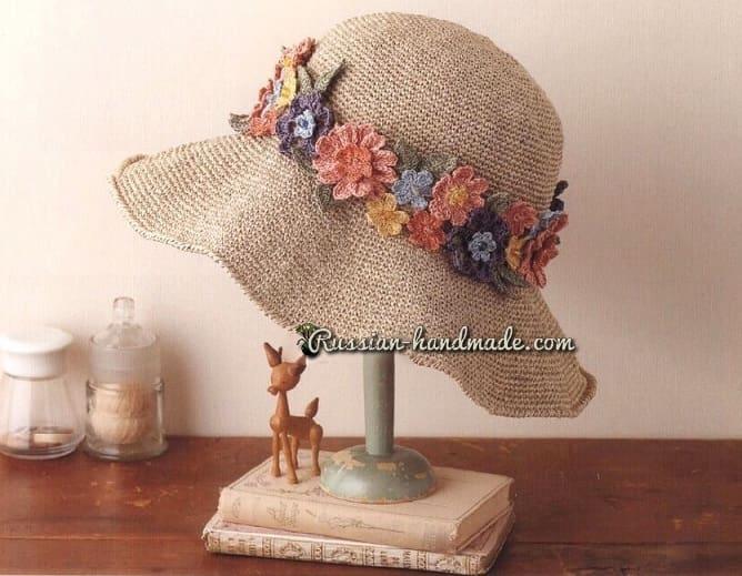 Вязаный комплект - летняя шляпка и сумочка (2)