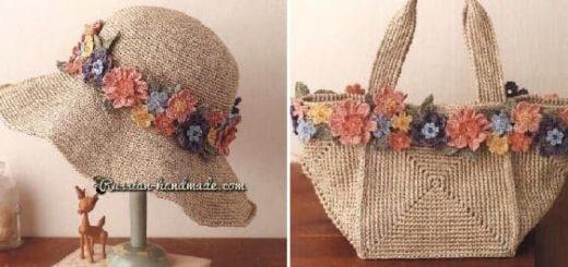 Вязаный комплект - летняя шляпка и сумочка (3)
