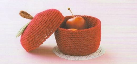 Корзинка «Красное яблоко» крючком (2)