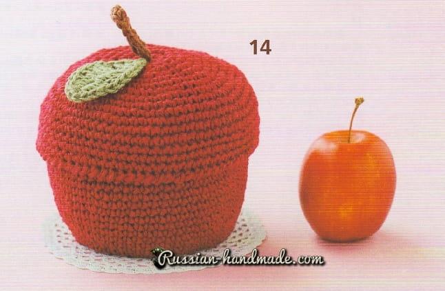 Корзинка «Красное яблоко» крючком (3)