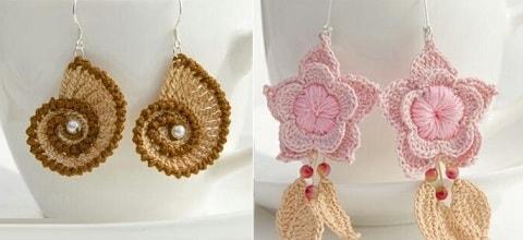 Сережки крючком - ракушки и цветочки