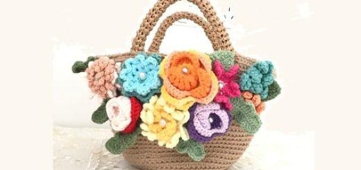 Вязание крючком сумочки-корзинки с цветами (1)