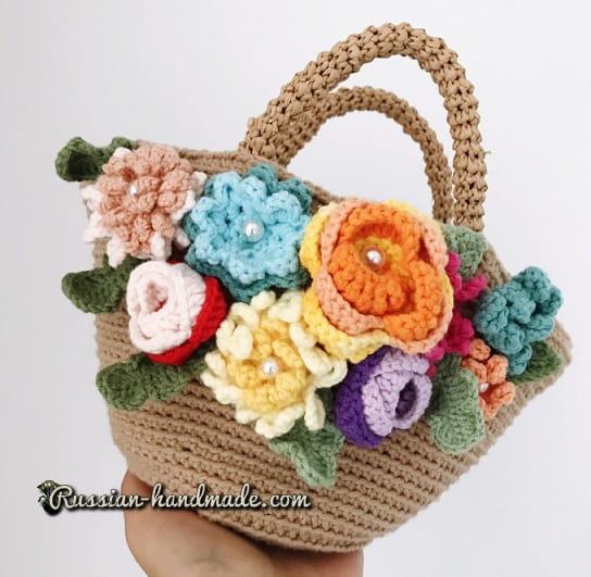 Вязание крючком сумочки-корзинки с цветами (2)