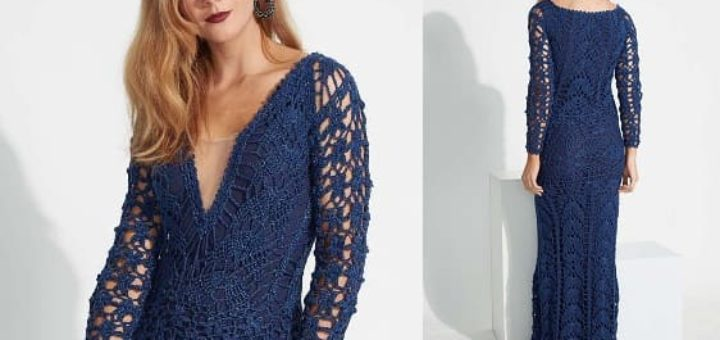 Длинное синее платье крючком