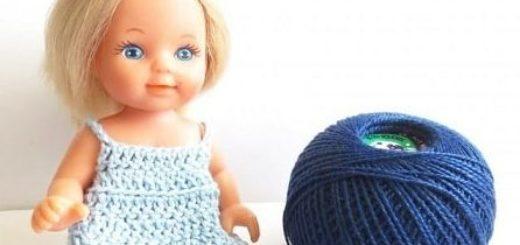 Как связать платье для куклы крючком (1)