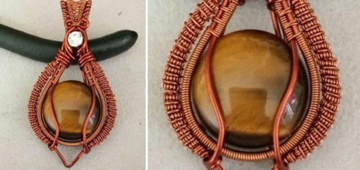 Кулон handmade из кабошона и проволоки (1)