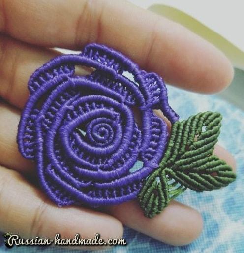 Плетение розочки в технике макраме (2)