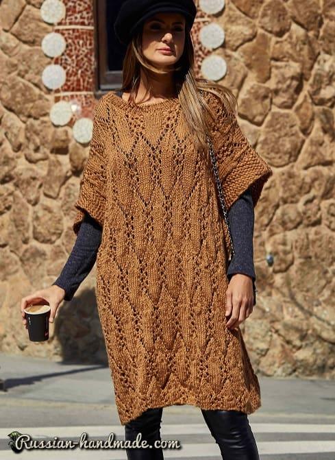 Платье-кимоно спицами. Схема (1)