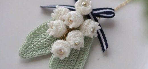 Серьги и кулон с вязаными крючком ландышами (2)