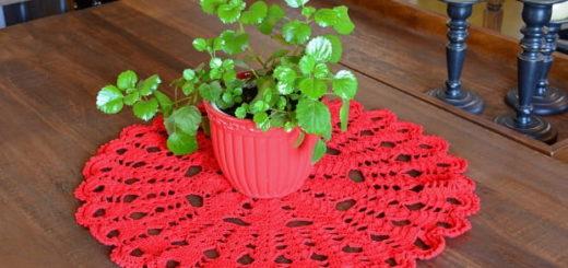 Декоративная салфетка крючком из красной пряжи (1)