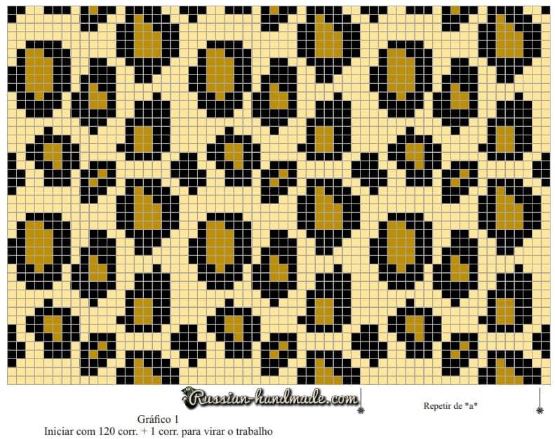 Подушка крючком «Леопардовый принт» (1)