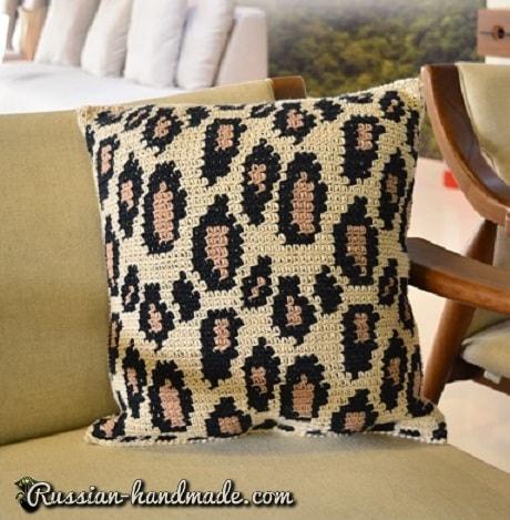 Подушка крючком «Леопардовый принт» (2)