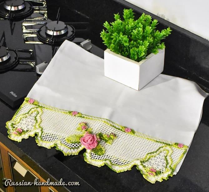 Кружево с розой крючком для украшения полотенца (1)