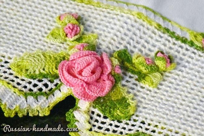 Кружево с розой крючком для украшения полотенца (2)