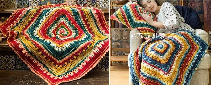 Плед и подушка крючком многоцветным узором (2)