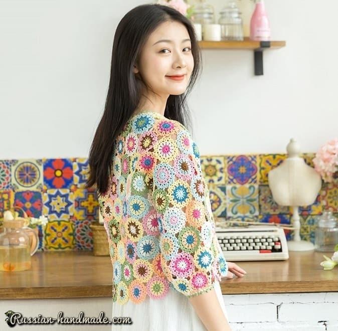 Летний пуловер из разноцветных круглых мотивов (1)