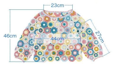 Летний пуловер из разноцветных круглых мотивов (3)