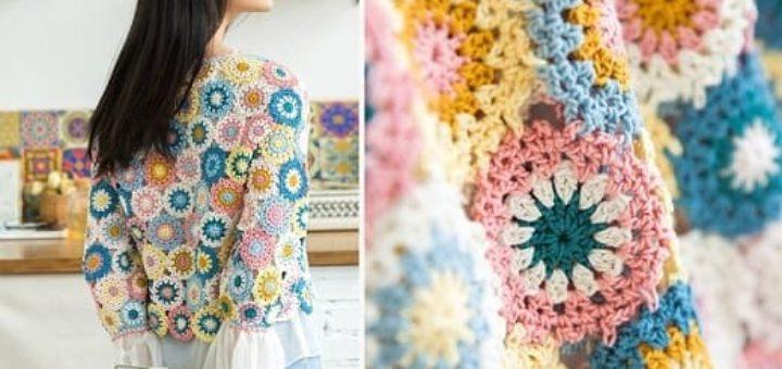 Летний пуловер из разноцветных круглых мотивов (4)
