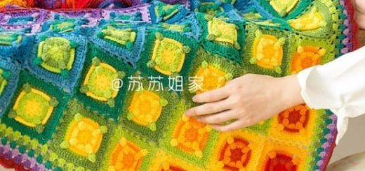 Плед крючком «Градиентная мозаика» (3)
