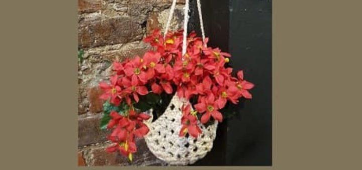 Подвесное вязаное крючком кашпо для цветов (3)