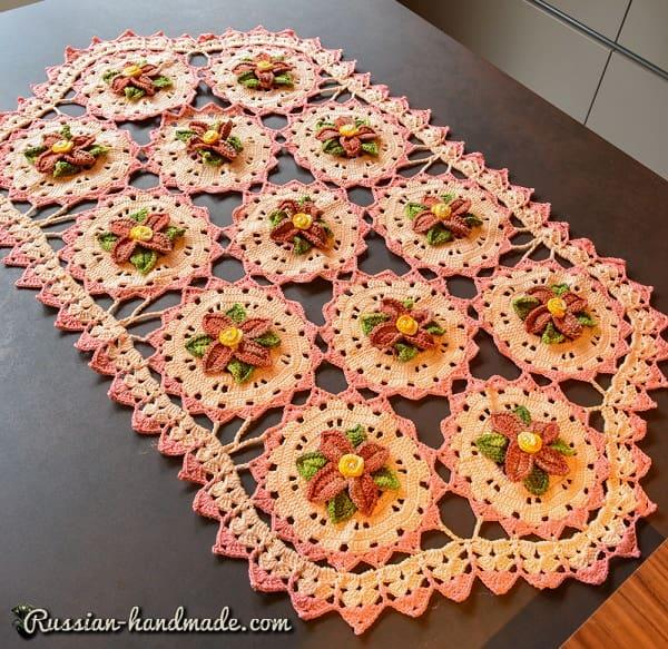 Салфетка крючком из мотивов с цветами (1)