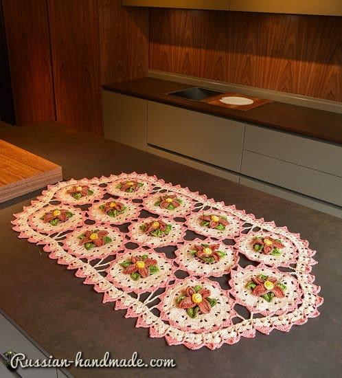 Салфетка крючком из мотивов с цветами (2)