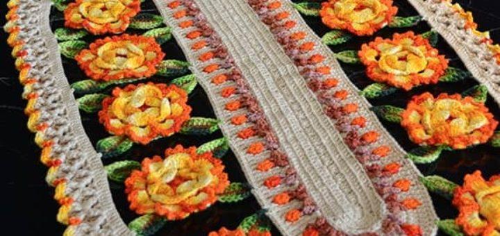 Декоративная салфетка «Цветочная тропа» крючком (1)