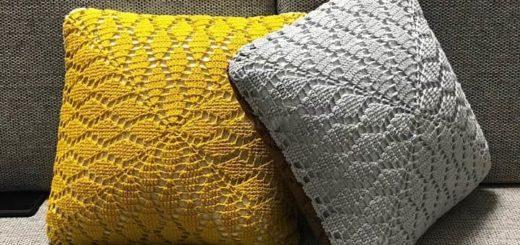 Интерьерные подушки крючком узором «Листья» (1)