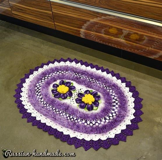 Сиреневый коврик с орхидеями крючком (1)
