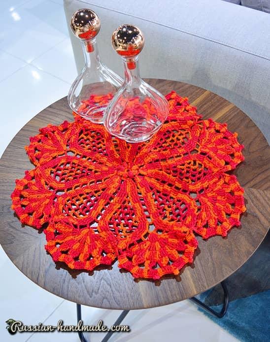 Декоративная салфетка «Цветок» крючком (2)