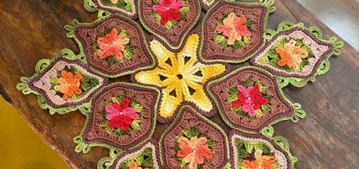 Салфетка крючком из остатков разноцветной пряжи (1)
